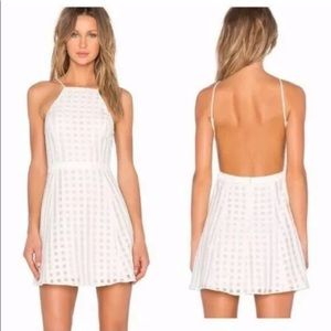 NBD revolve white backless gingham dress sz M.
